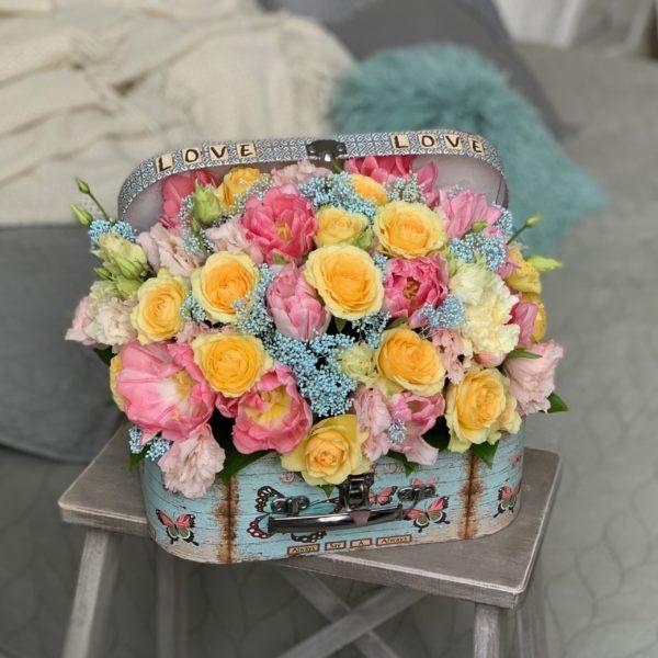 Чемодан  с цветами Романтический намёк фото