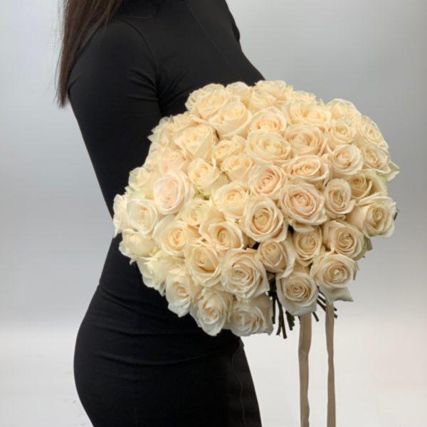 51 белая роза 40 см фото